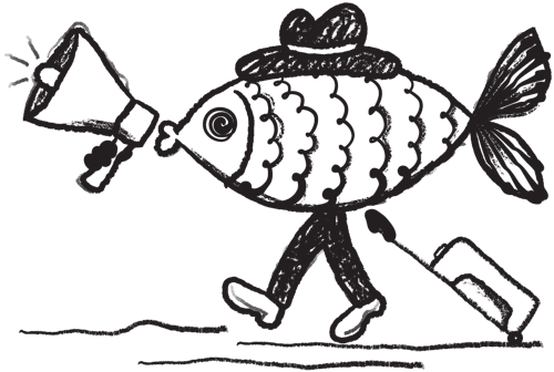 Illustration of a walking fish